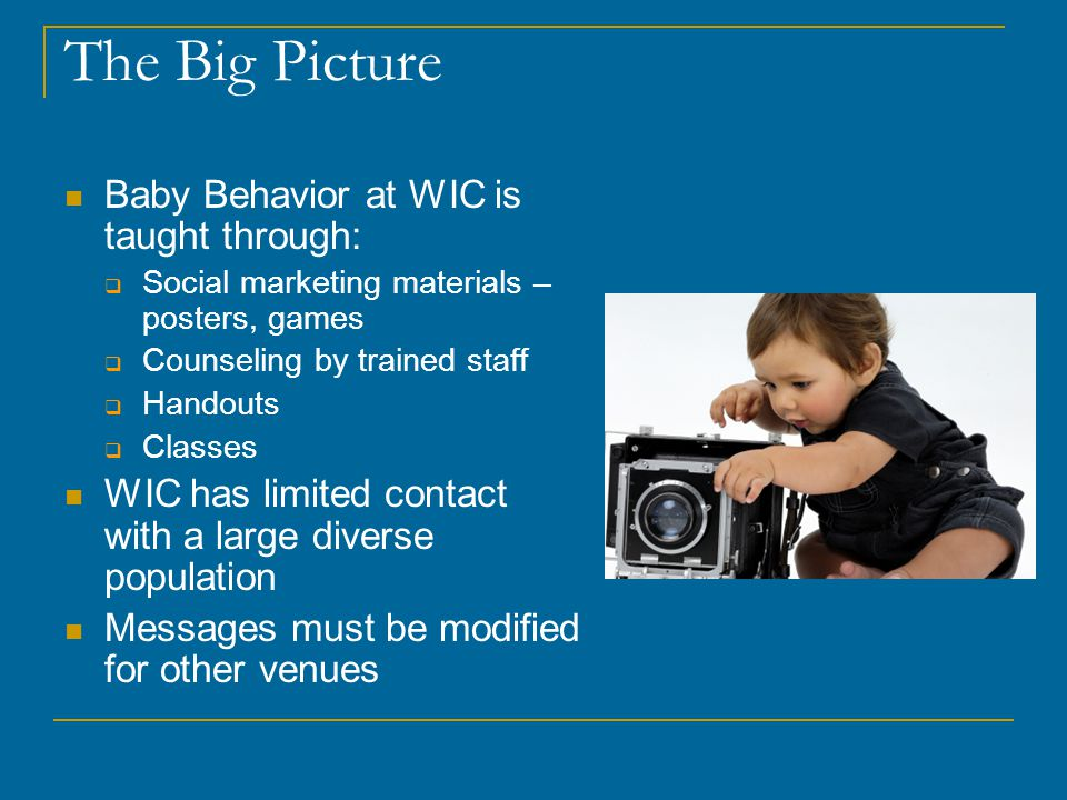 The Big Picture Baby Behavior at WIC is taught through: