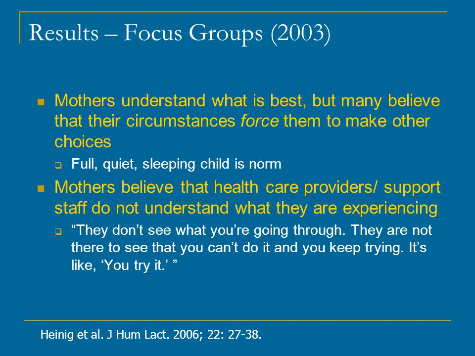 Results – Focus Groups (2003)