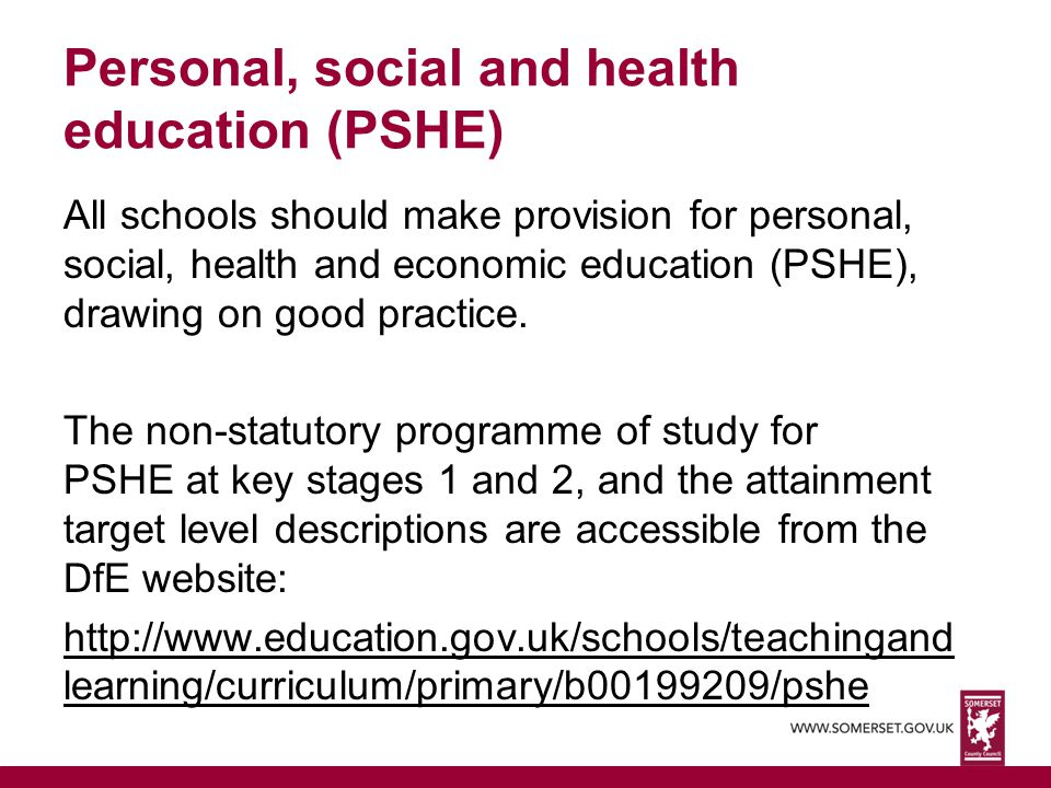 Personal, social and health education (PSHE)
