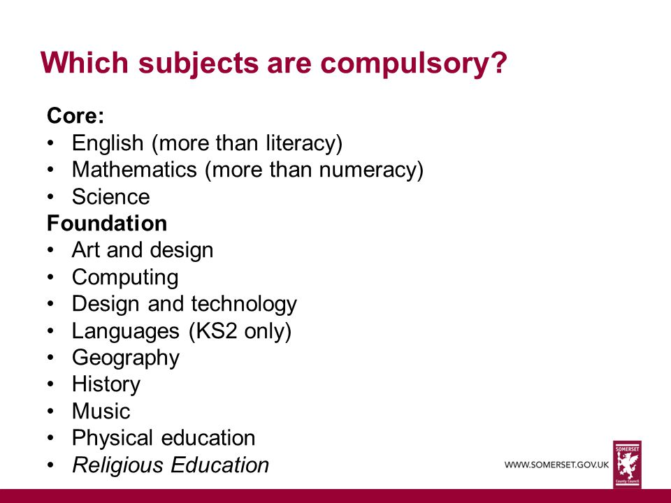 Which subjects are compulsory