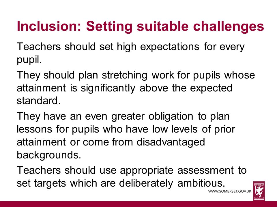 Inclusion: Setting suitable challenges