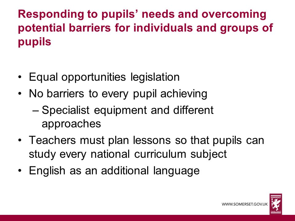 Responding to pupils' needs and overcoming potential barriers for individuals and groups of pupils
