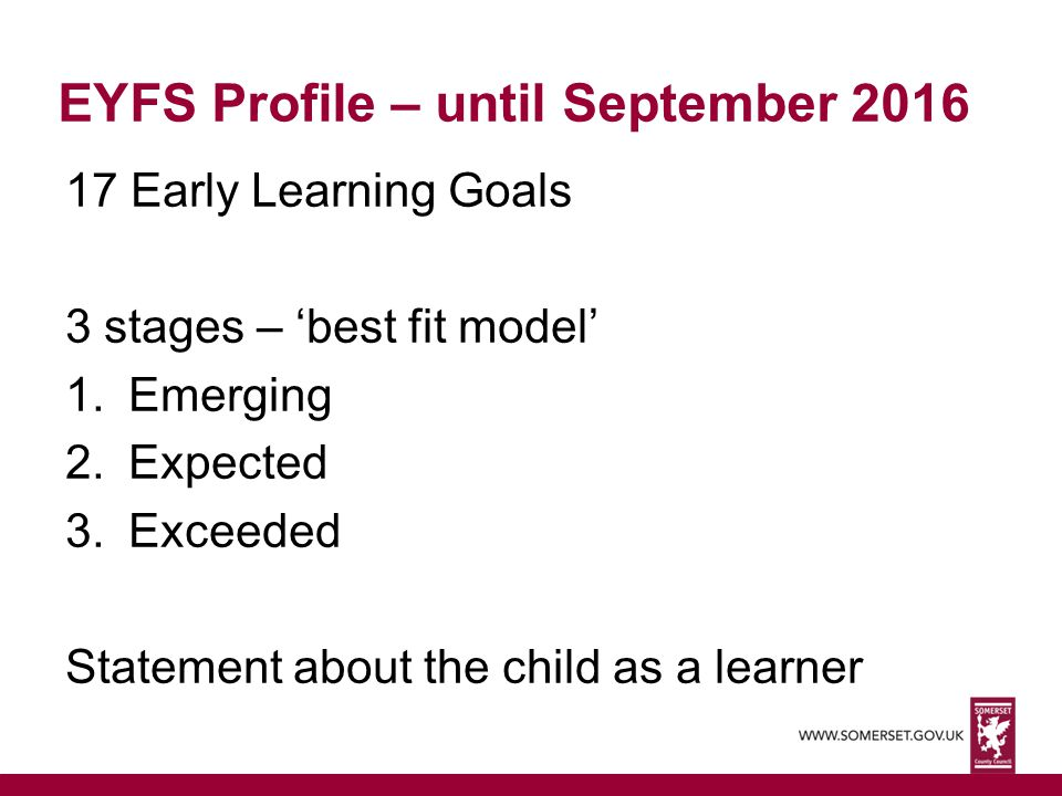 EYFS Profile – until September 2016