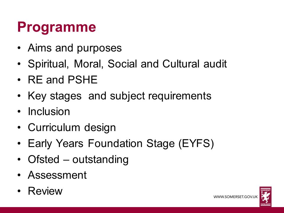 Programme Aims and purposes