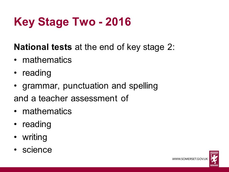 Key Stage Two - 2016 National tests at the end of key stage 2:
