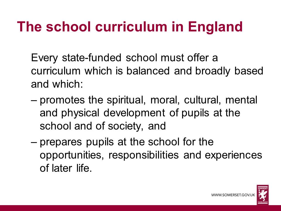 The school curriculum in England