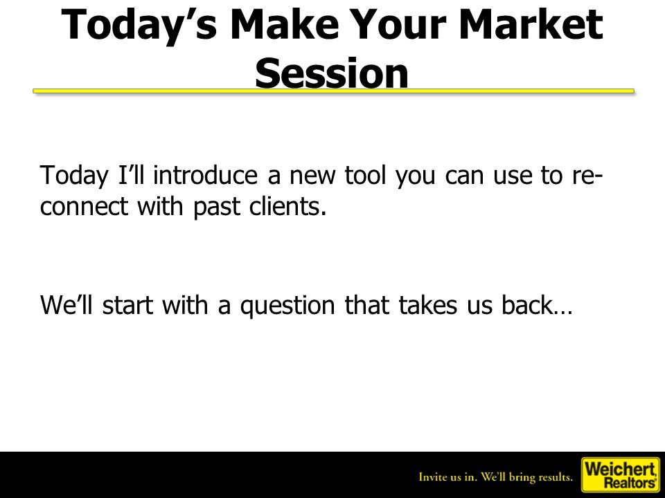 Today's Make Your Market Session