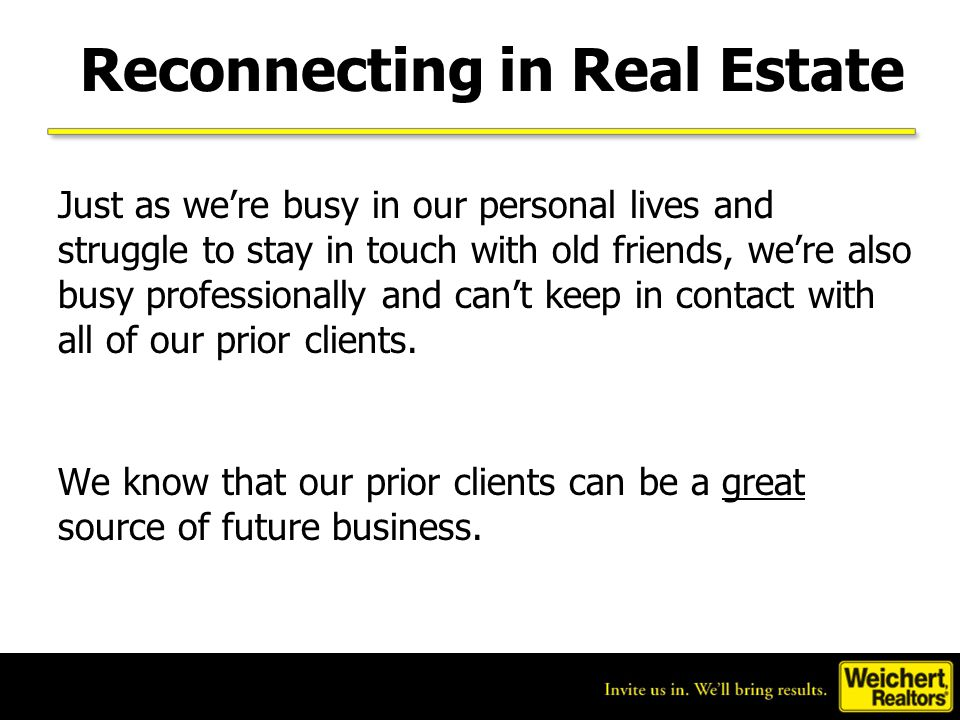 Reconnecting in Real Estate