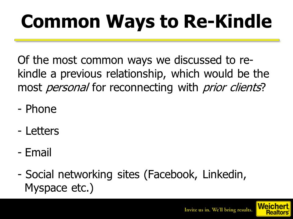 Common Ways to Re-Kindle