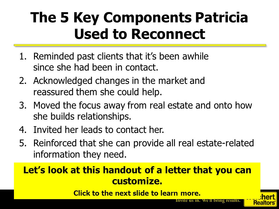 The 5 Key Components Patricia Used to Reconnect