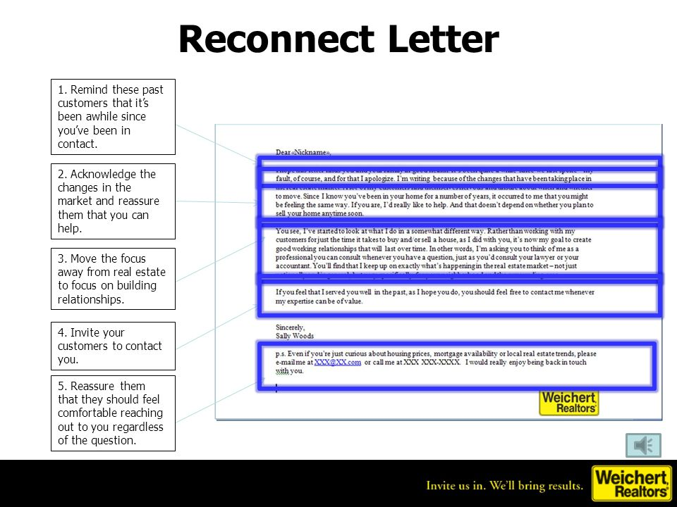 Reconnect Letter 1. Remind these past customers that it's been awhile since you've been in contact.
