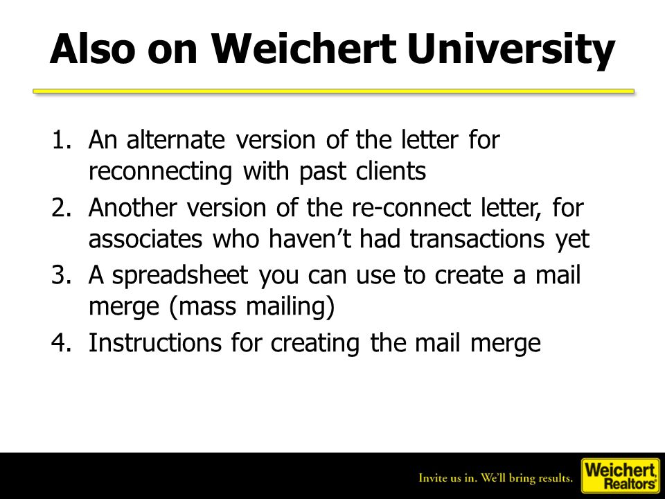 Also on Weichert University