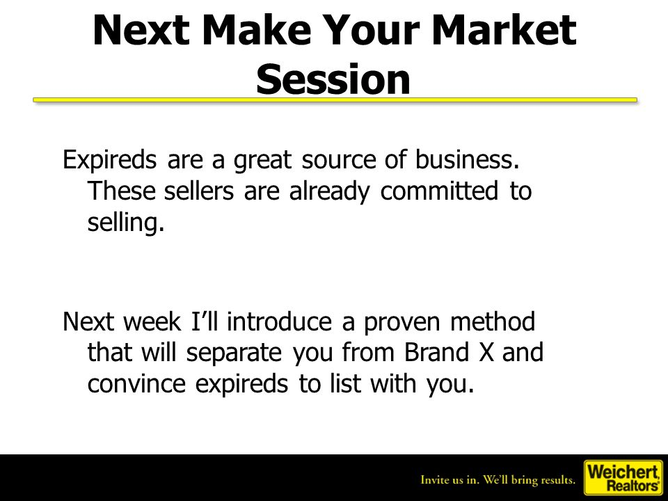 Next Make Your Market Session
