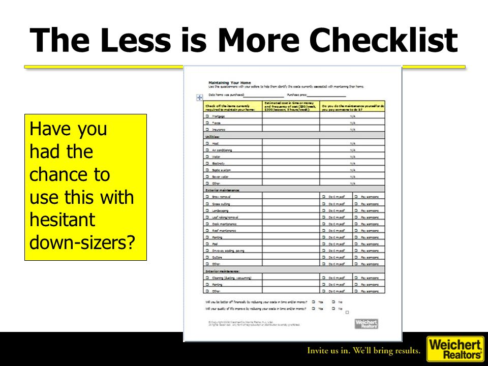 The Less is More Checklist