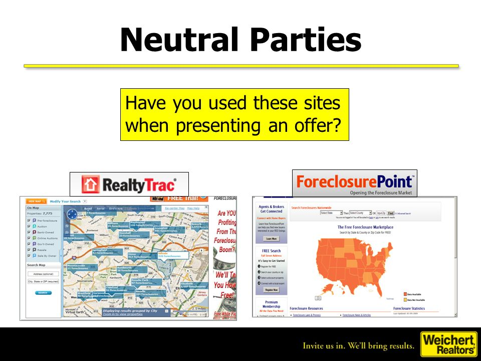 Neutral Parties Have you used these sites when presenting an offer