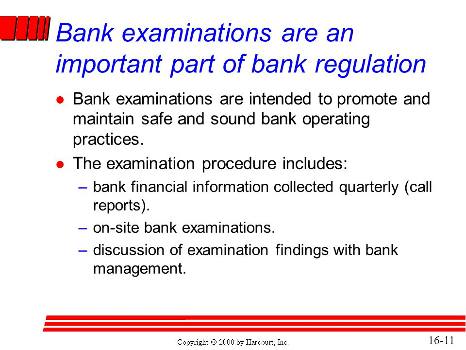 Bank examinations are an important part of bank regulation