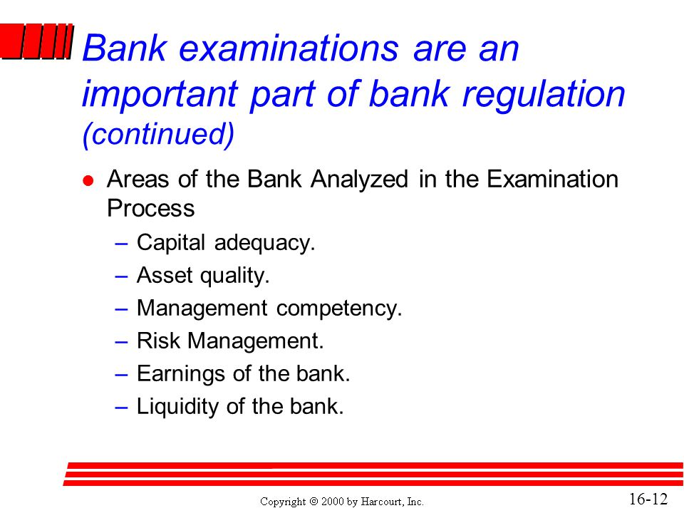 Bank examinations are an important part of bank regulation (continued)