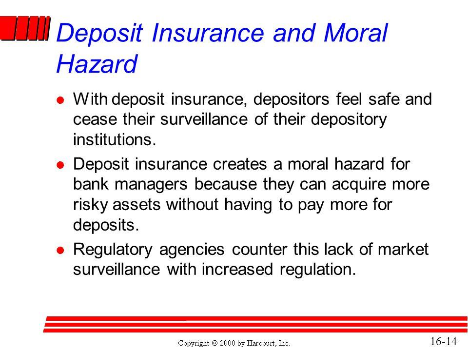 Deposit Insurance and Moral Hazard