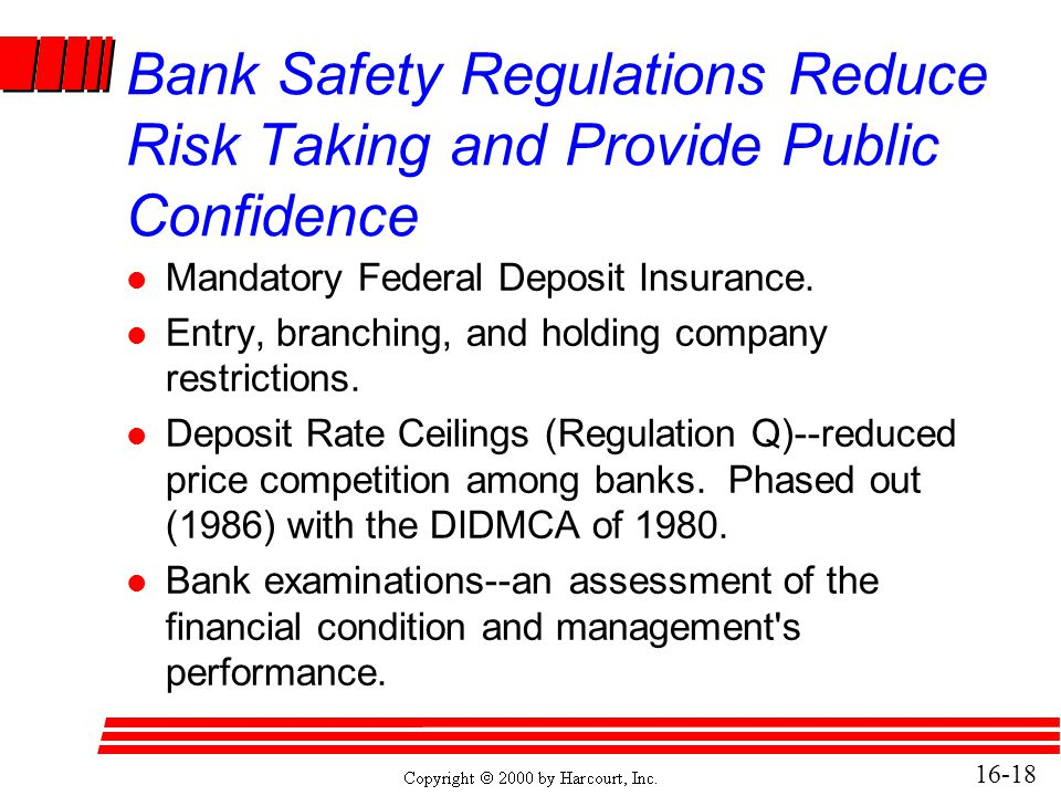 Bank Safety Regulations Reduce Risk Taking and Provide Public Confidence