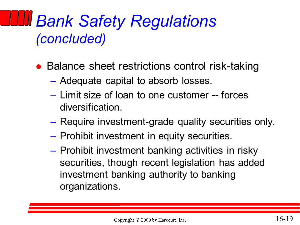 Bank Safety Regulations (concluded)
