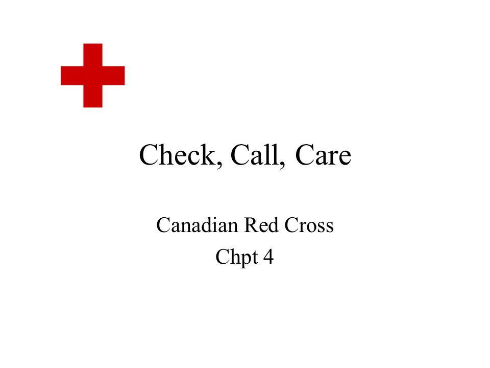 Canadian Red Cross Chpt 4