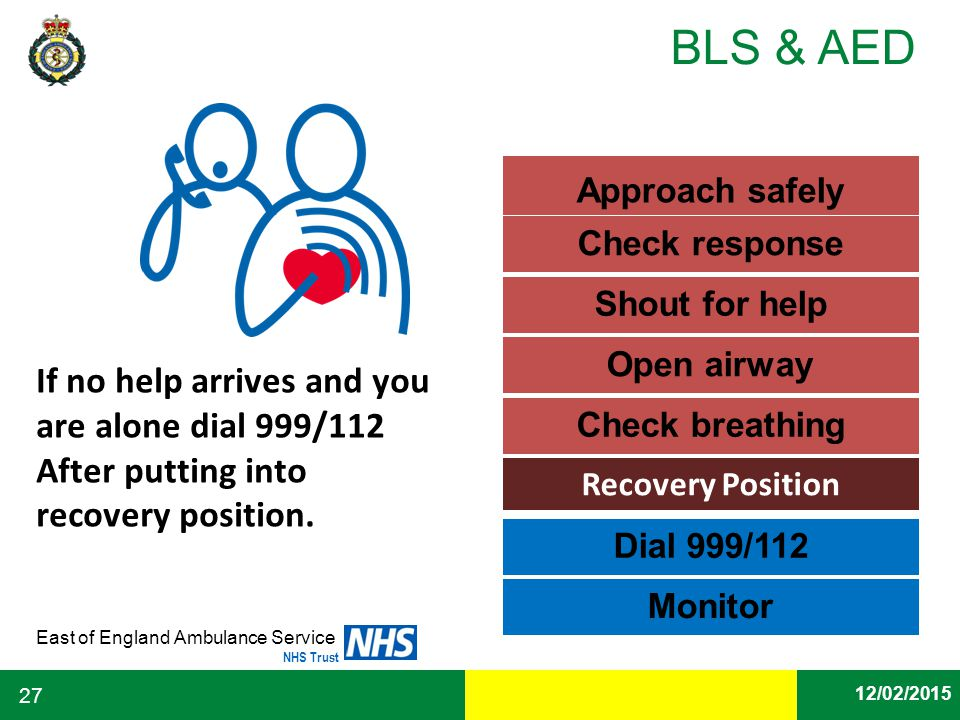 Approach safely Check response. Shout for help. Open airway.