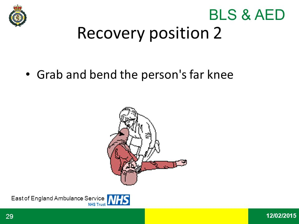 Recovery position 2 Grab and bend the person s far knee.