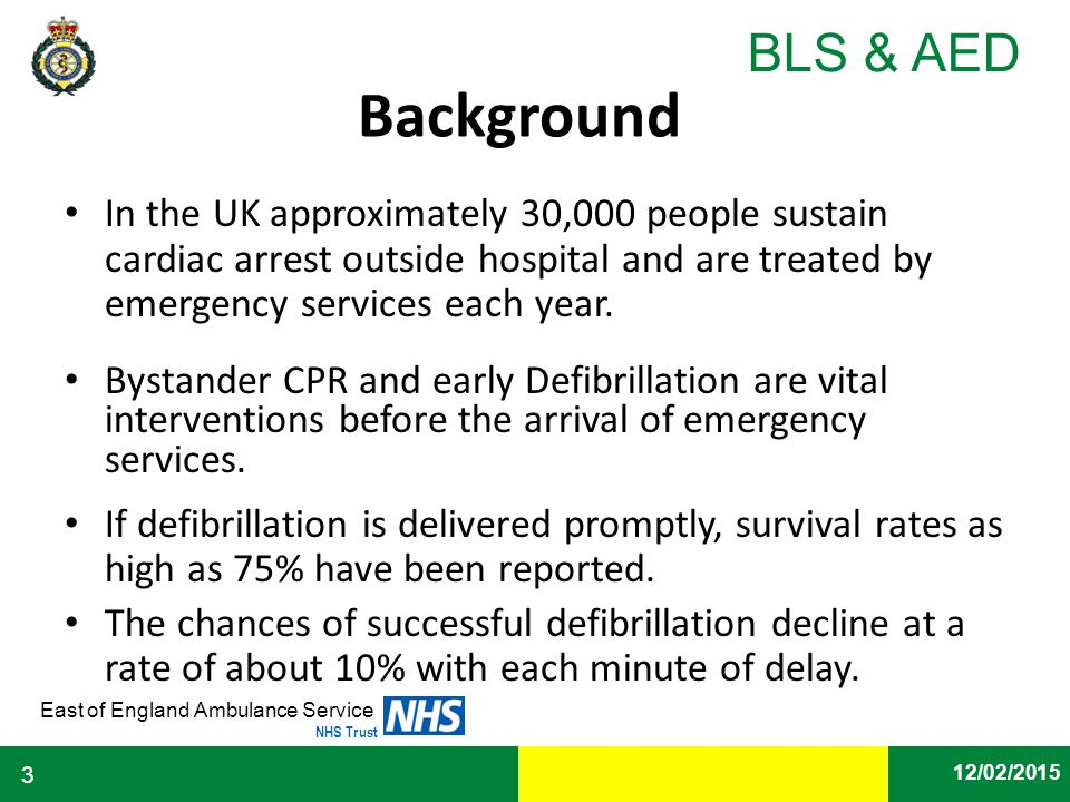 Background In the UK approximately 30,000 people sustain cardiac arrest outside hospital and are treated by emergency services each year.