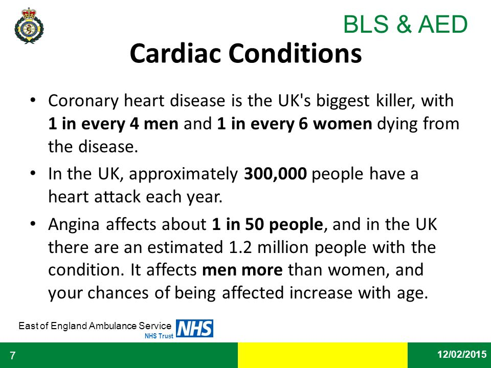 Cardiac Conditions Coronary heart disease is the UK s biggest killer, with 1 in every 4 men and 1 in every 6 women dying from the disease.