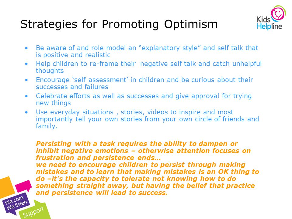 Strategies for Promoting Optimism