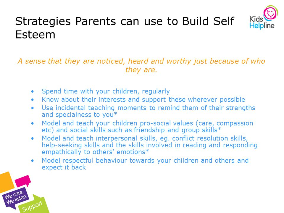 Strategies Parents can use to Build Self Esteem