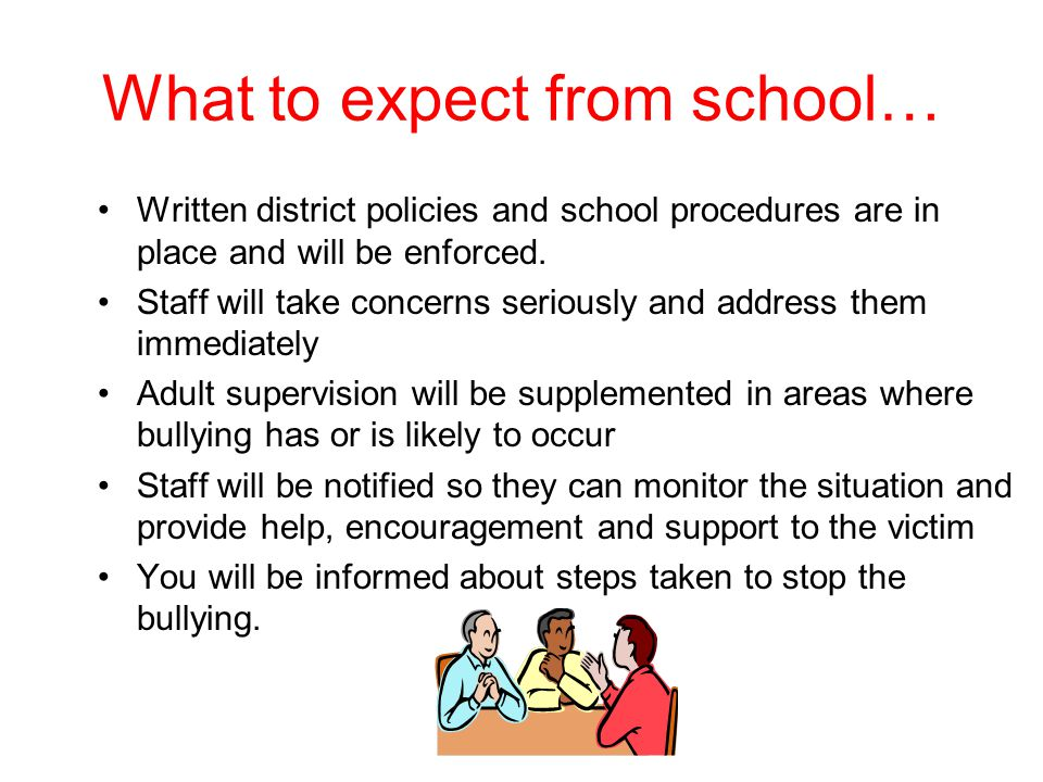 What to expect from school…