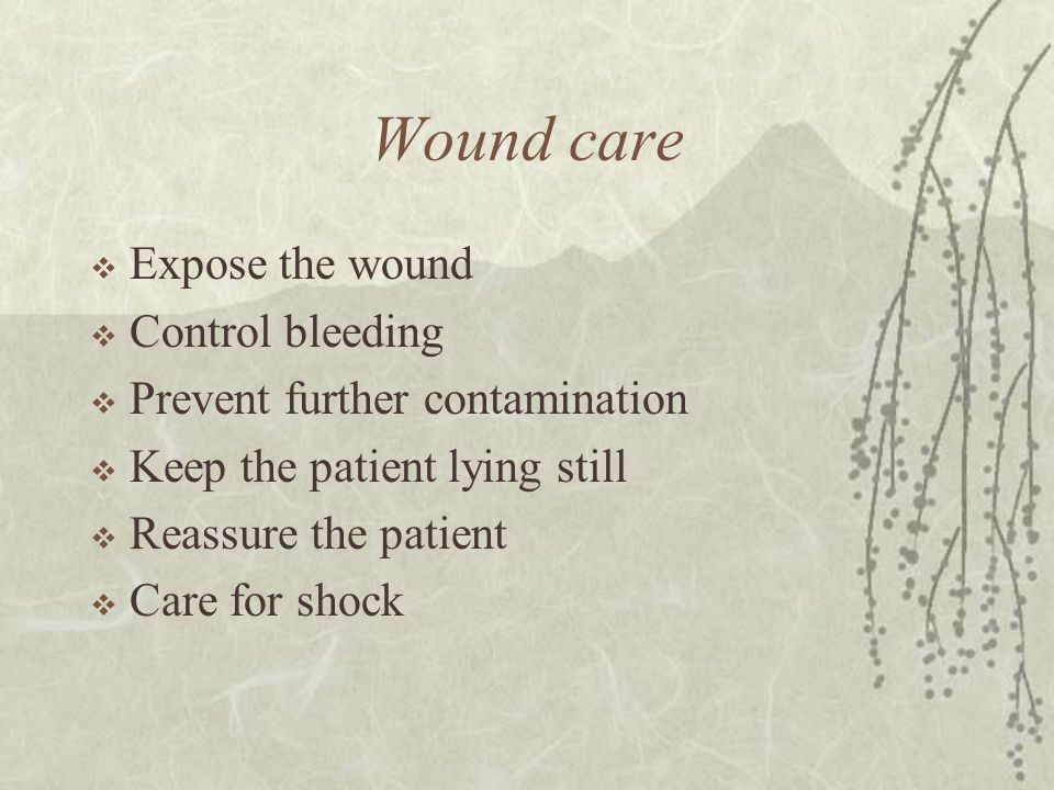 Wound care Expose the wound Control bleeding