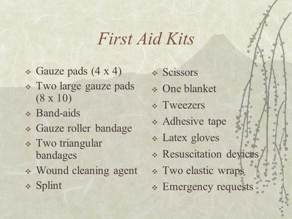 First Aid Kits Gauze pads (4 x 4) Two large gauze pads (8 x 10)