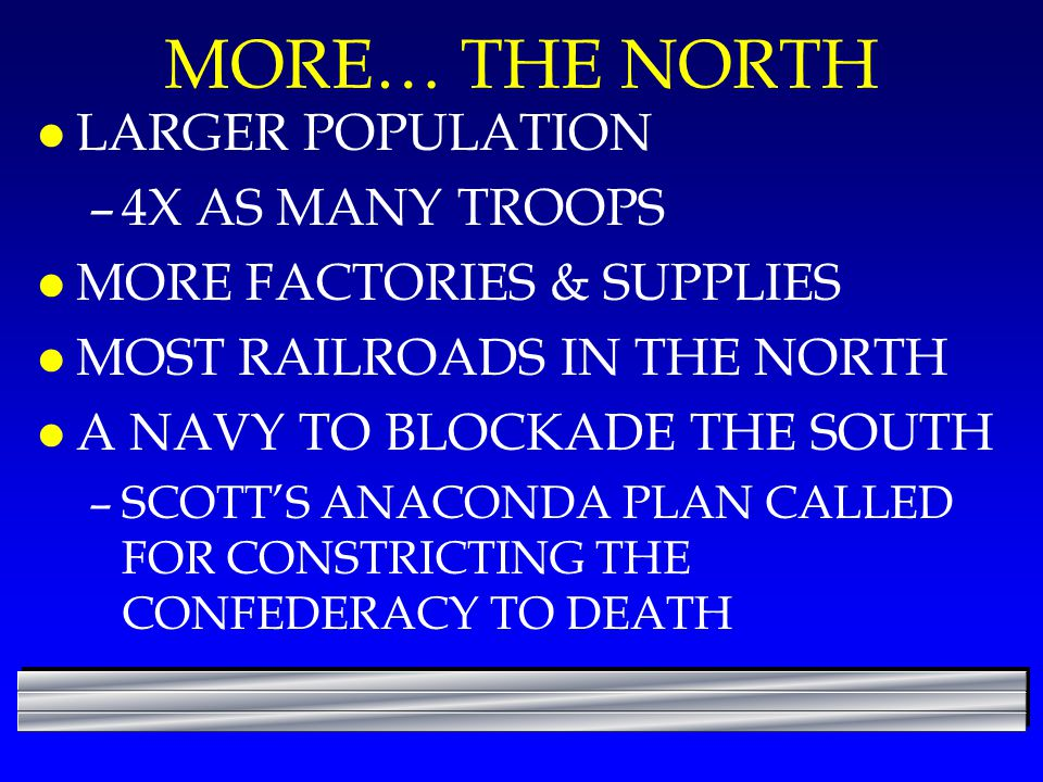 MORE… THE NORTH LARGER POPULATION 4X AS MANY TROOPS