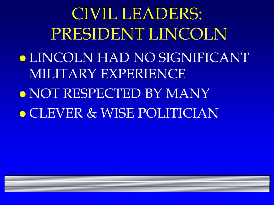 CIVIL LEADERS: PRESIDENT LINCOLN