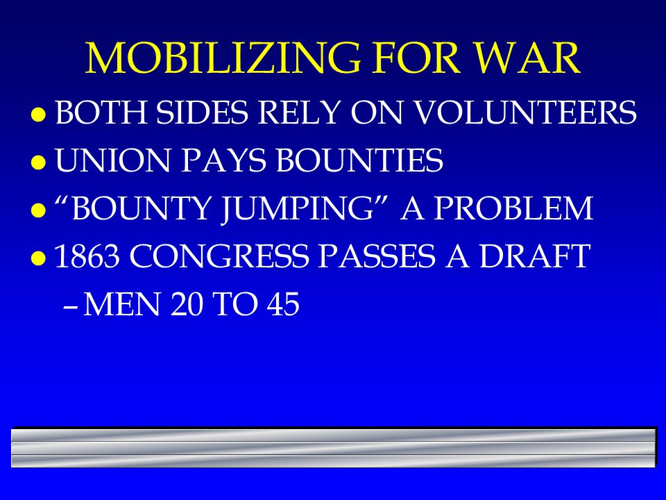 MOBILIZING FOR WAR BOTH SIDES RELY ON VOLUNTEERS UNION PAYS BOUNTIES
