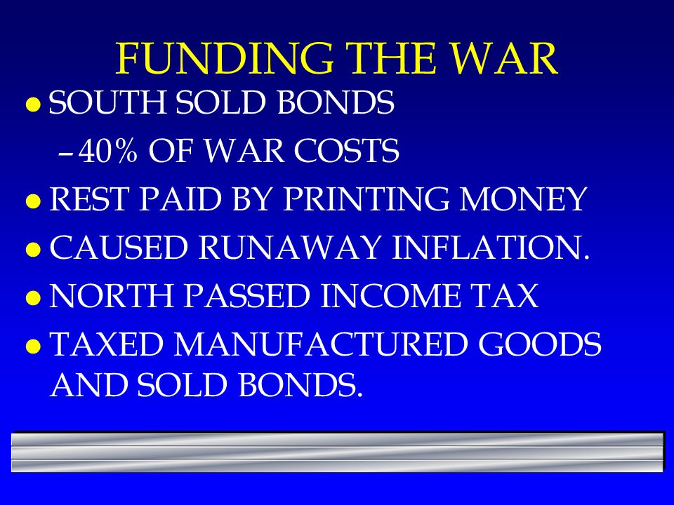FUNDING THE WAR SOUTH SOLD BONDS 40% OF WAR COSTS