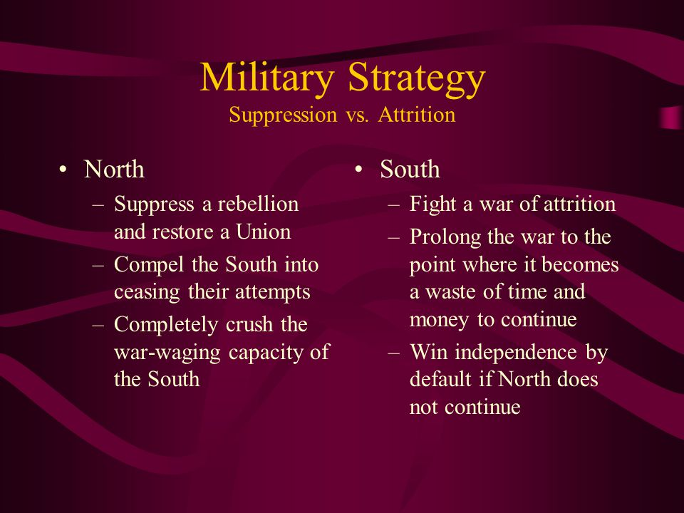 Military Strategy Suppression vs. Attrition