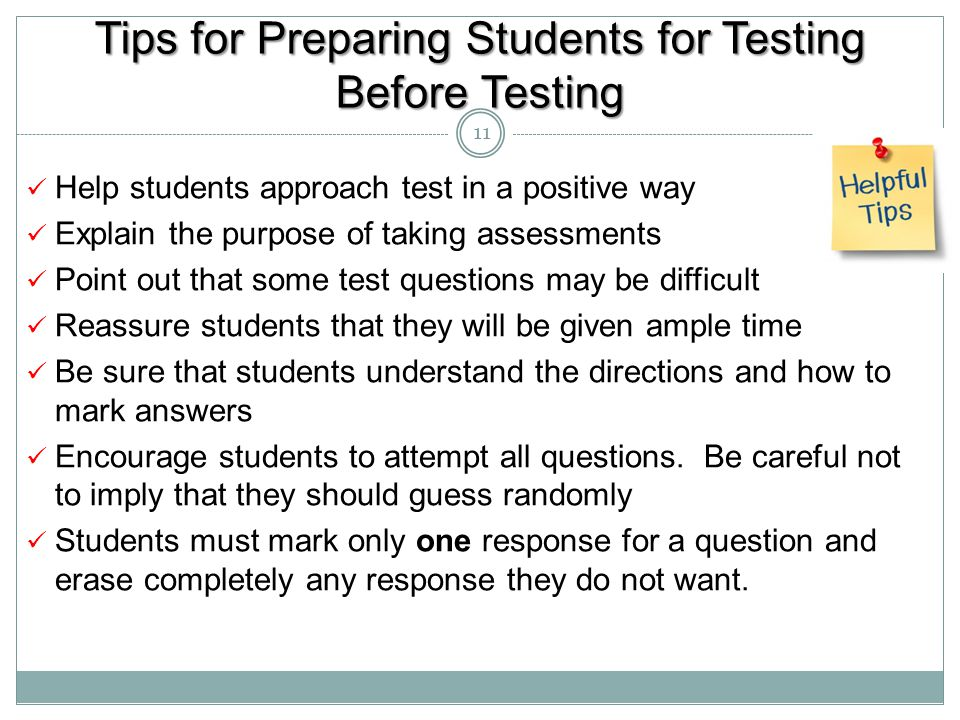 Tips for Preparing Students for Testing Before Testing