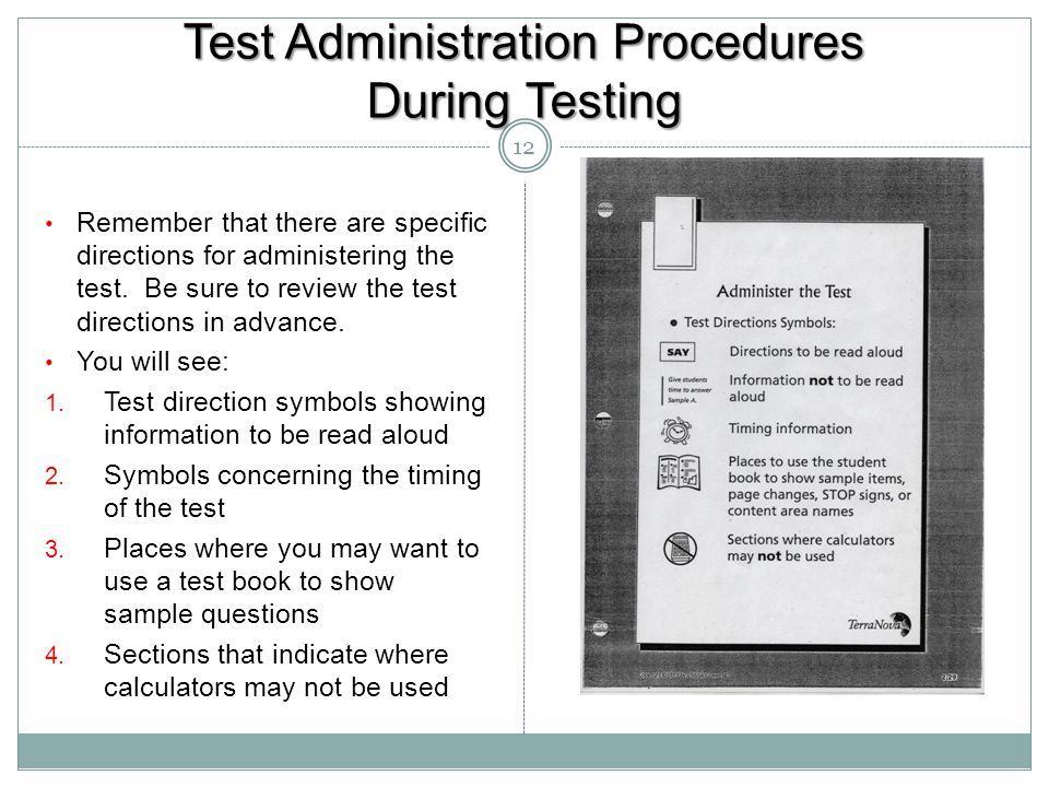 Test Administration Procedures During Testing