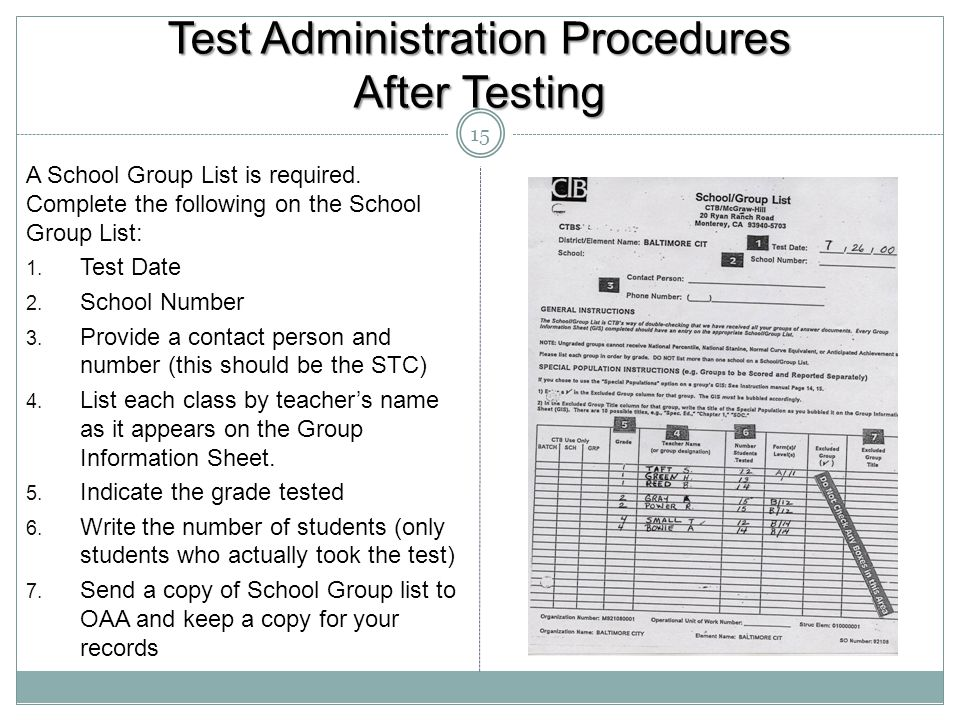 Test Administration Procedures After Testing