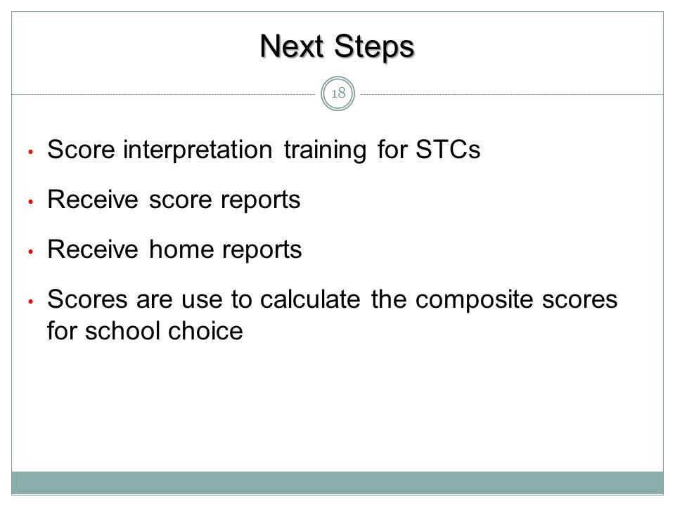 Next Steps Score interpretation training for STCs