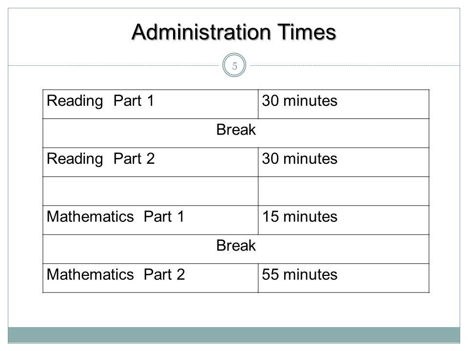 Administration Times Reading Part 1 30 minutes Break Reading Part 2