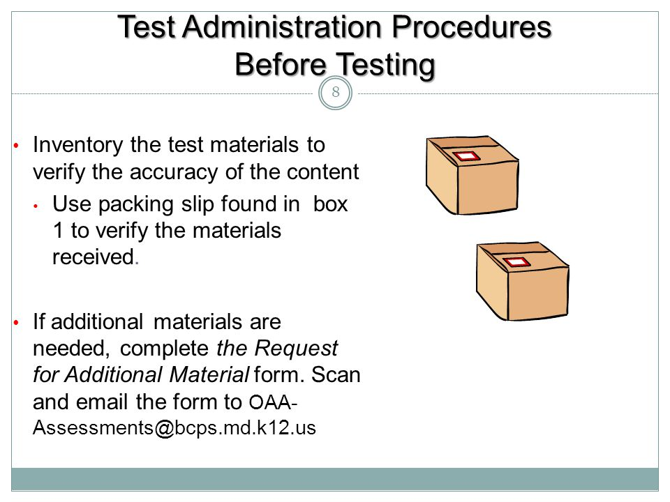 Test Administration Procedures Before Testing