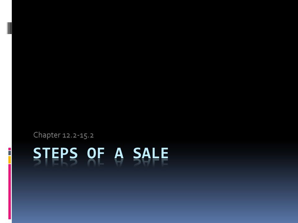 Chapter 12.2-15.2 Steps of a Sale