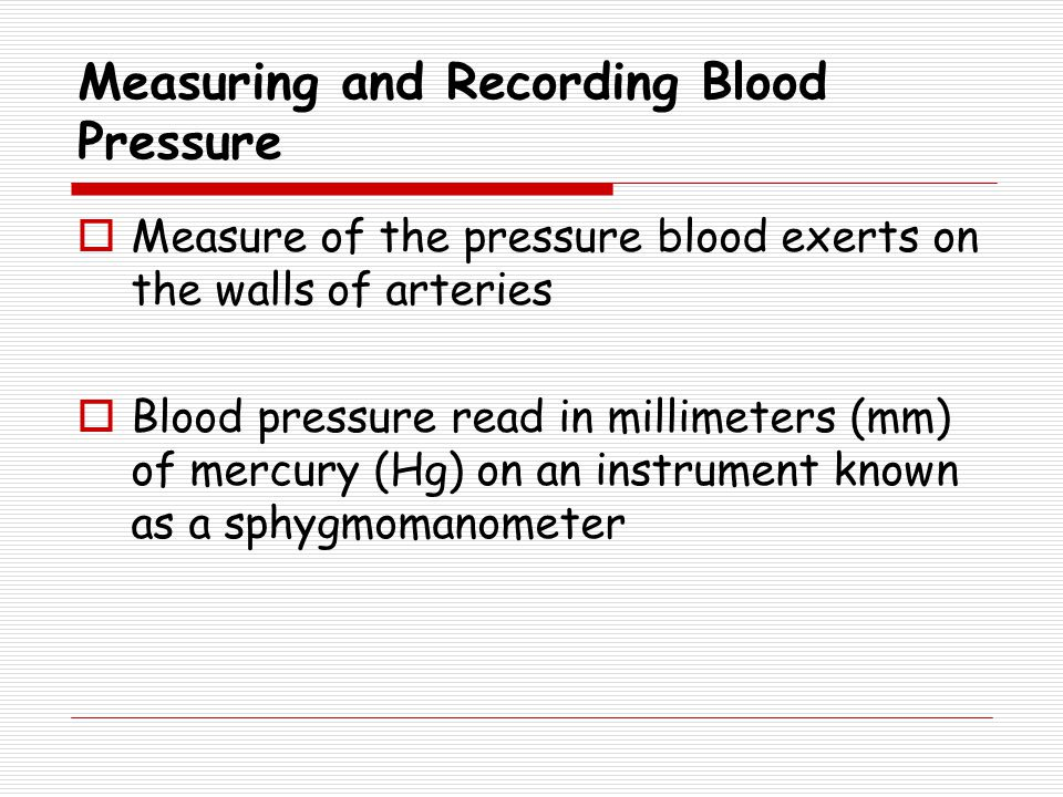 Measuring and Recording Blood Pressure