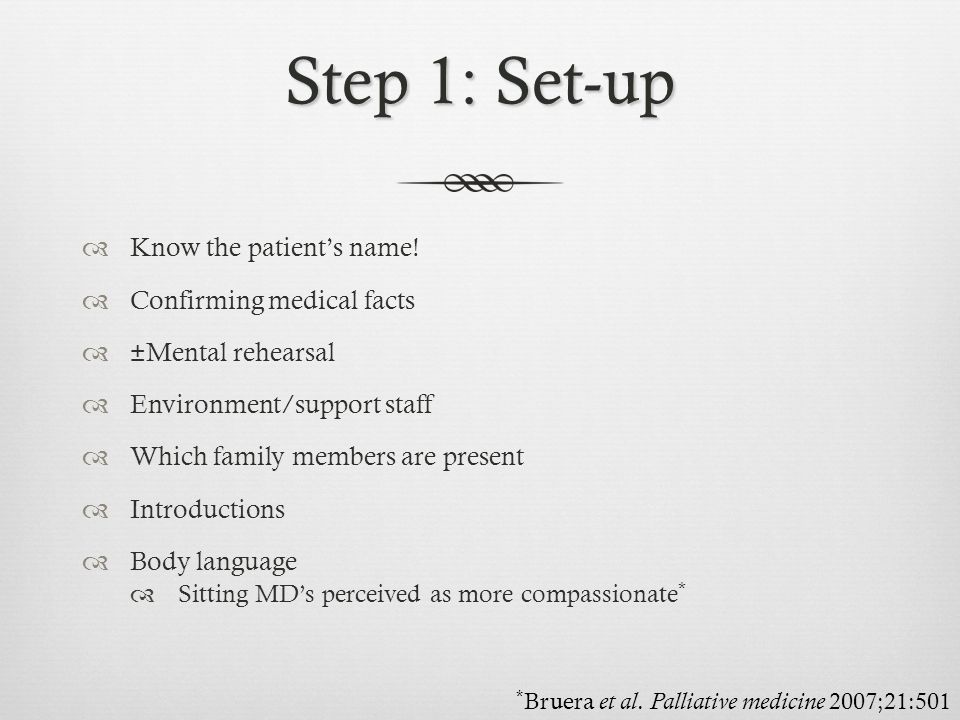 Step 1: Set-up Know the patient's name! Confirming medical facts