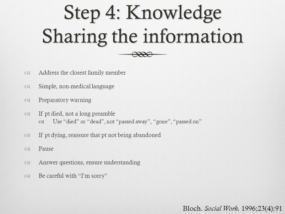 Step 4: Knowledge Sharing the information