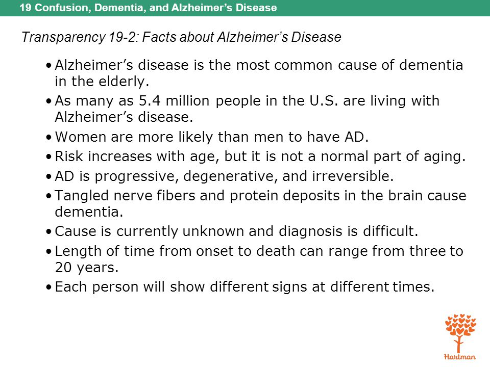 Transparency 19-2: Facts about Alzheimer's Disease